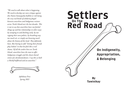 Settlers on the Red Road Zine Cover