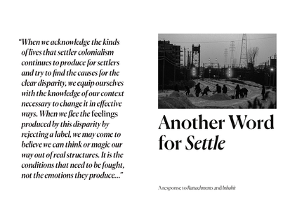 Another Word for Settle Zine Cover