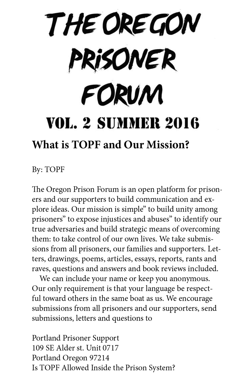 the oregon prisoner forum